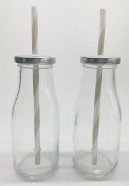 Reusable Milk Glass Bottle with Metal Lid and Grey Straw Cle