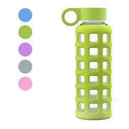 GEO Sports Bottle 12oz Glass Reusable Small Mini Water Bottl