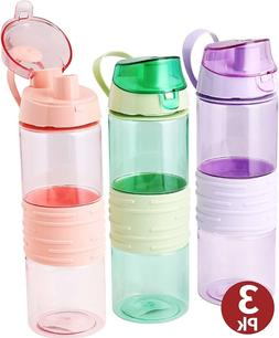 Sports Water Bottle 25 Oz 3-pack Plastic Drink Bottle With H