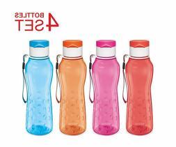 Sports Water Bottle - Kids Reusable 25 Oz 4-Pack Plastic Wid