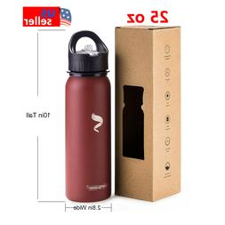Sports Water Bottles 25oz Stainless Steel With Straw Lid And