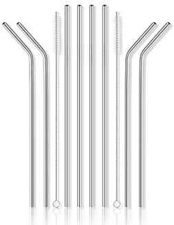 Stainless Steel Drinking Metal Straws With 2 Cleaning Brushe