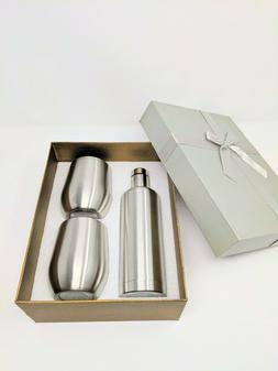Stainless Steel Water Bottle 17oz and 2 9oz Wine Tumbler Set