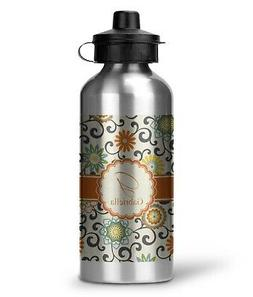 Swirls & Floral Water Bottle - Aluminum - 20 oz