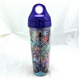 Tervis Tree Of Life Water Bottle NEW Purple Lid Gold Mandala