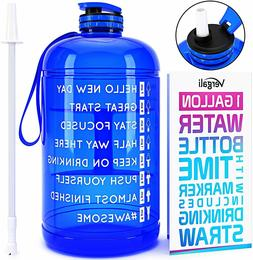 Water Bottle 1 Gallon with Time Marker & Straw Increase Your