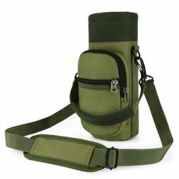 Water Bottle Holder Bag Adjustable Hand Strap 2 Pockets Pouc