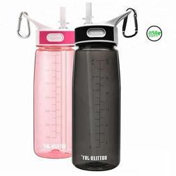 Water Bottle with Straw Drink Bottles Gym Plastic Bottle 800