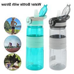 Water Bottle with Straw Drink Bottles Gym Plastic Bottle 650