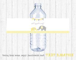 Yellow Chevron Elephant Water Bottle Labels Printable Editab