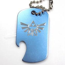 """Zelda Baby Blue Key Chain With 4"""" Chain Dog Tag Aluminum Bot"""