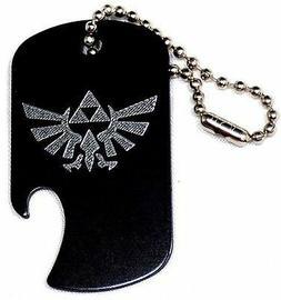 "Zelda Game Black Key Chain With 4"" Chain Dog Tag Aluminum Bo"
