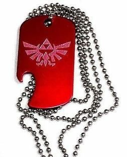 """Zelda Game Red Pendant With 30"""" Chain Dog Tag Aluminum Bottl"""