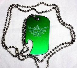"Zelda Green Pendant New With 30"" Chain Dog Tag Aluminum Bott"